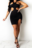 Black Pure Color Sexy Halter Neck Hollow Out Chest Wrap Tight Mini Dress YBS6705-4