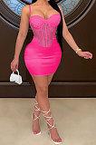Rose Red Sexy Condole Belt Chest Wrap Net Yarn Hot Drilling Pure Color Mini Dress XZ5132-3