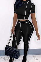 Black Streets Line Round Neck Short Sleeve Open Fork Pant Two Piece MLL161-1