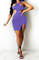 Purple Pure Color Sexy Halter Neck Hollow Out Chest Wrap Tight Mini Dress YBS6705-2
