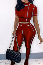 Red Streets Line Round Neck Short Sleeve Open Fork Pant Two Piece MLL161-2