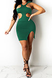 Green Pure Color Sexy Halter Neck Hollow Out Chest Wrap Tight Mini Dress YBS6705-3
