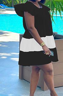 Black&White Fashion Causal Spliced Lotus Leaf Sleeve Loose Dress SM9187-3