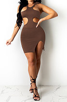 Brown Pure Color Sexy Halter Neck Hollow Out Chest Wrap Tight Mini Dress YBS6705-5