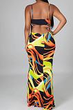 Yellow Sexy Tie Dye Print Sling Verst Long Dress OEP6296-1