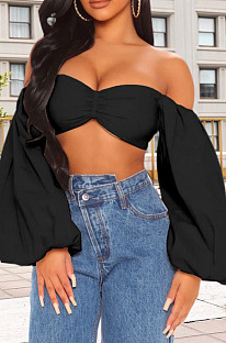 Black Sexy Chest Warp Backless Lantern sleeve Tops HY5234-2