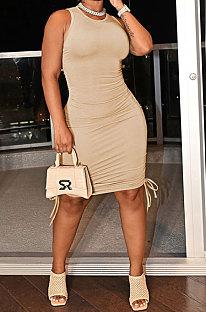 Apricot Women Pure Color Ruffle Drawsting Sleeveless Bodycon Casual Mini Dress MLM9072-17