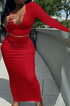 Red Women Sexy V Neck Long Sleeve Short Top Skirts Sets Q911-6