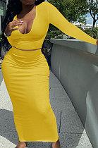 Yellow Women Sexy V Neck Long Sleeve Short Top Skirts Sets Q911-4