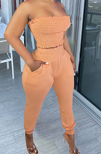 Light Orange Fashion Sexy Pure Color Boot Tube Top Long Pants Two Piece TRS1163-3