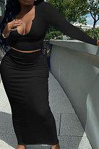 Black Women Sexy V Neck Long Sleeve Short Top Skirts Sets Q911-7