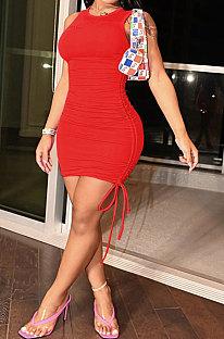 Red Women Pure Color Ruffle Drawsting Sleeveless Slim Fashion Mini Dress MLM9072-13
