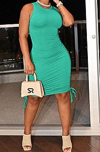 Green Women Pure Color Ruffle Drawsting Sleeveless Bodycon Casual Mini Dress MLM9072-15