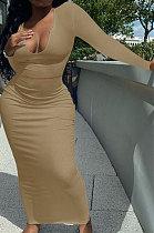 Brown Women Sexy V Neck Long Sleeve Short Top Skirts Sets Q911-8