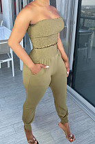 Light Green Fashion Sexy Pure Color Boot Tube Top Long Pants Two Piece TRS1163-4