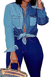 Explosion Models Button Down Denim Patchwork Ladies Shirts NK064
