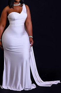White Women Pure Color Irregularity One Shoulder Simple Giant Swing  Plus Long Dress QHH8655-1