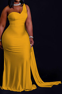 Yellow Women Pure Color Irregularity One Shoulder Simple Giant Swing  Plus Long Dress QHH8655-2