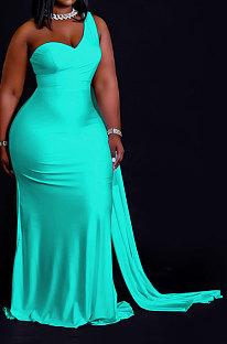 Blue Women Pure Color Irregularity One Shoulder Simple Giant Swing  Plus Long Dress QHH8655-5