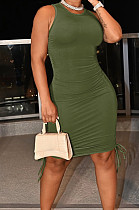 Army Green Casual Round Neck Sleeveless Drawsting Pure Color Stretch Slim Fit Dress YYF8230-12