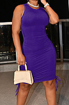 Dark Purple Casual Round Neck Sleeveless Drawsting Pure Color Stretch Slim Fit Dress YYF8230-14
