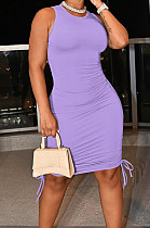 Purple Casual Round Neck Sleeveless Drawsting Pure Color Stretch Slim Fit Dress YYF8230-8