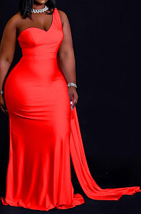 Red Women Pure Color Irregularity One Shoulder Simple Giant Swing  Plus Long Dress QHH8655-3