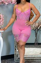 Pink Euramerican Corset Cartilage Sling Lace Fashion Sexy Romper Shorts QZ5250-2