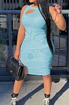 Light Blue Personality Sexy Net Yarn Perspective Dress HG126-2