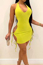 Yellow Sexy Pure Color Halter Neck V Necn Bind Backless Dress HG125-3