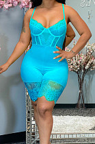 Blue Euramerican Corset Cartilage Sling Lace Fashion Sexy Romper Shorts QZ5250-5