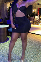 Black Women Sexy Tight Pure Color One Shoulder Backless Mini Dress  FFE161-3