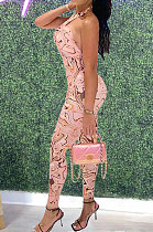 Pink Women Irregularity Printing Sleeveless Bodycon Jumpsuits AYW1006