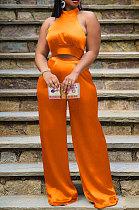 Orange Women Pure Color Sleeveless Top Casual Pants Sets NK254-5