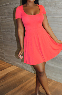 Pink Sexy Casual U Neck Shorts A-Line Dress LYY9311-3