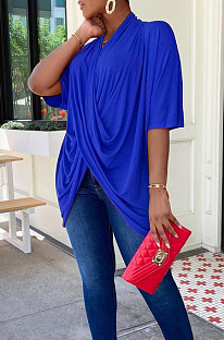 Blue Fashion Personality Prue Color Loose T-Shirts JC7058-6