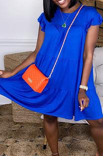 Blue Fashion Loose Round Neck Casual Dress JC7054-2