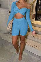 Blue Sexy Pit Bar Off Shoulder Shorts Sets PY815-4