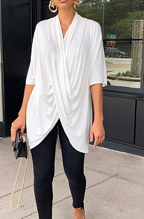 White Fashion Personality Prue Color Loose T-Shirts JC7058-4