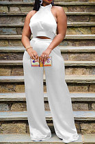 White Women Pure Color Sleeveless Top Casual Pants Sets NK254-2
