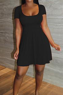 Black Sexy Casual U Neck Shorts A-Line Dress LYY9311-1