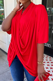 Red Fashion Personality Prue Color Loose T-Shirts JC7058-3