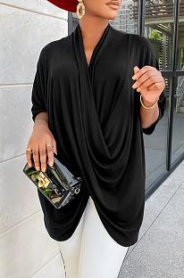 Black Fashion Personality Prue Color Loose T-Shirts JC7058-2