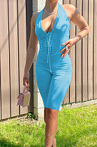 Blue Fashion Casual Bind Pure Color Halter Neck Backless Bodycon Jumpsuits PU6089-2