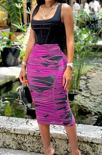 Purple Fashion Casual Ruffle High Stretch Net Yarn Print Skirts N9288-2
