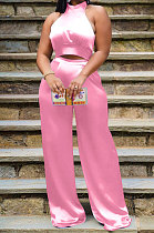 Pink Women Pure Color Sleeveless Top Casual Pants Sets NK254-3