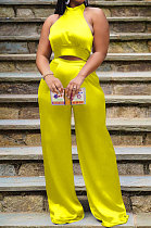 Yellow Women Pure Color Sleeveless Top Casual Pants Sets NK254-4