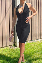 Black Fashion Casual Bind Pure Color Halter Neck Backless Bodycon Jumpsuits PU6089-3