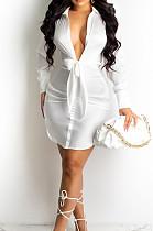White Fashion Cute The Glossy Bind Shirt Dress MTY6537-1