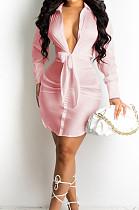 Pink Fashion Cute The Glossy Bind Shirt Dress MTY6537-2
